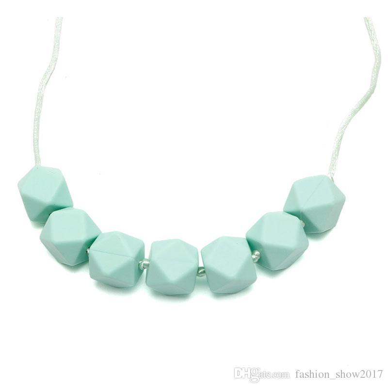 Meilleur BPA Free Food Grade Bricolage Silicone Bébé Perles à mâcher Collier de dentition Bijoux de soins de dentition Dentable à mâcher pour maman à porter