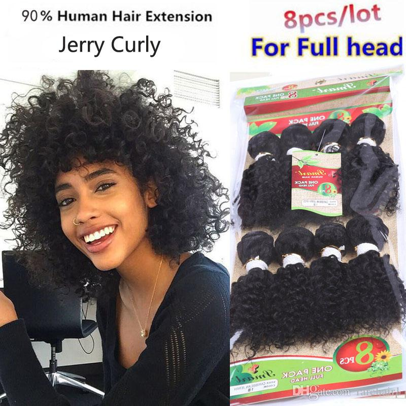 c2193607e6 2019 Jerry Curl Synthetic Hair Weave Bundles Like Human Hair Sew In Hair  Extensions Black Ombre Bug And Brown  Pack From Rarehair1