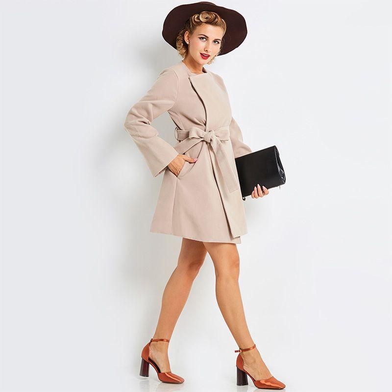 Young 17 Women's HerbstWinter A-Linie Aprikosenmantel Full Sleeve Square Kragen Lace-upBelt Lange weibliche Wolle Blends Coat