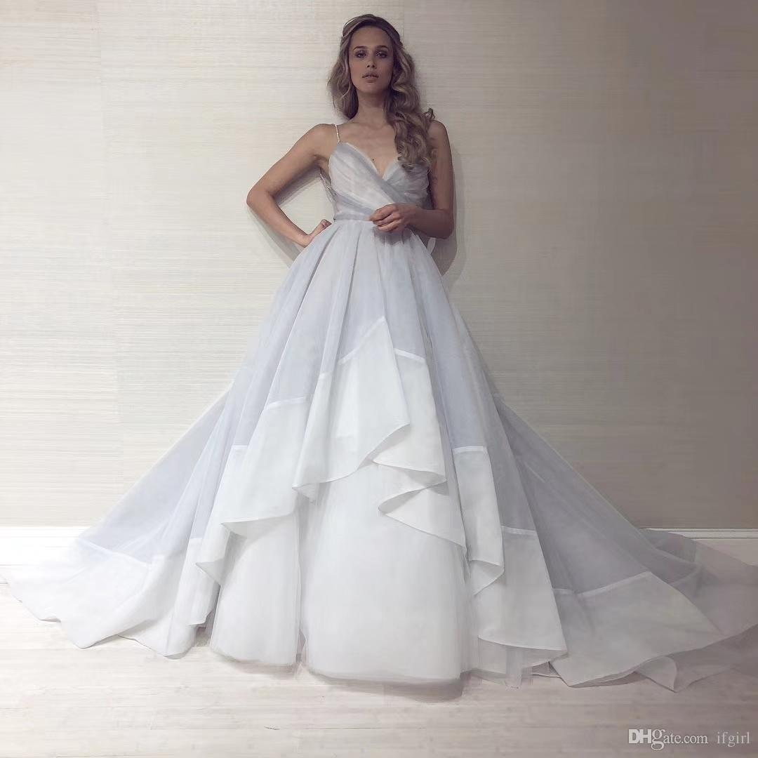 Sexy Spaghetti Backless Gray Ball Gown 2018 Prom Dress Sweetheart