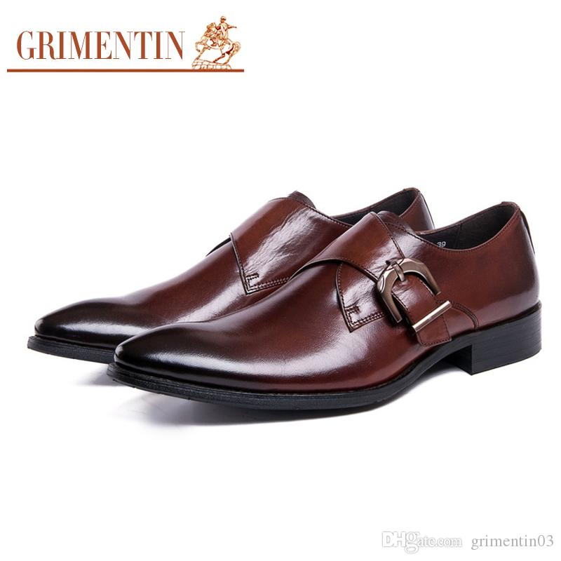 GRIMENTIN Hot sale formal mens dress shoes genuine leather black brown men oxford shoes Italian fashion designer wedding party male shoes