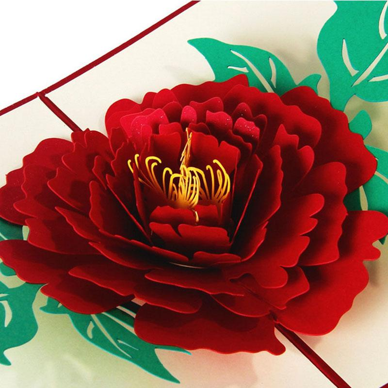 S Home New 3D Pop Up Greeting Cards Peony Birthday Valentine Mother Day Thank You Christmas APR5 Make Merry From Douglass