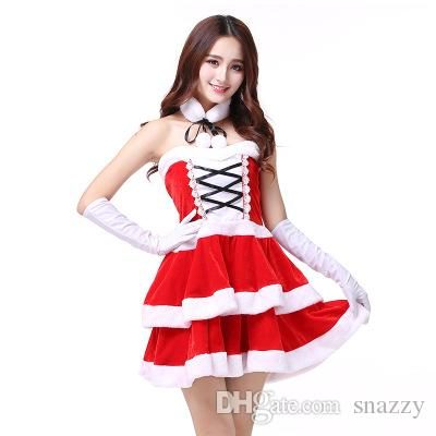 9326e431f2667 European And American Off Shoulder Christmas Dress With Gloves And Scarf, Christmas  Dress, Stage Dress, Christmas Uniform Party Role Play Midi Skirts Red ...