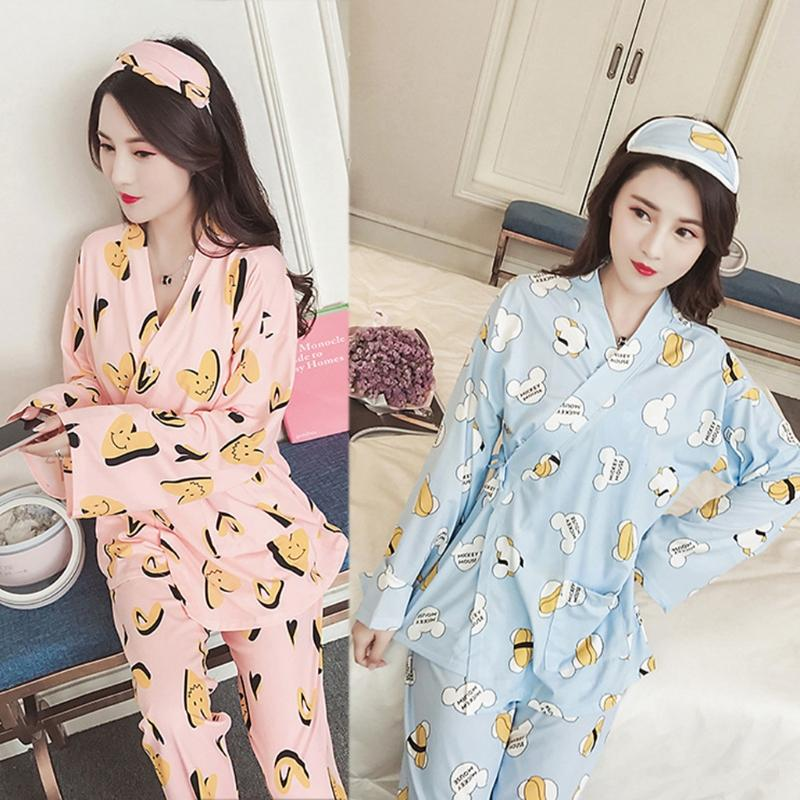 691bc05be9 2019 Japanese Kimono Style Women Winter Cute V Neck Pajama Set Long Sleeve  Sleepwear Robes And Pants Suit Homewear Cartoon Sets From Beimu