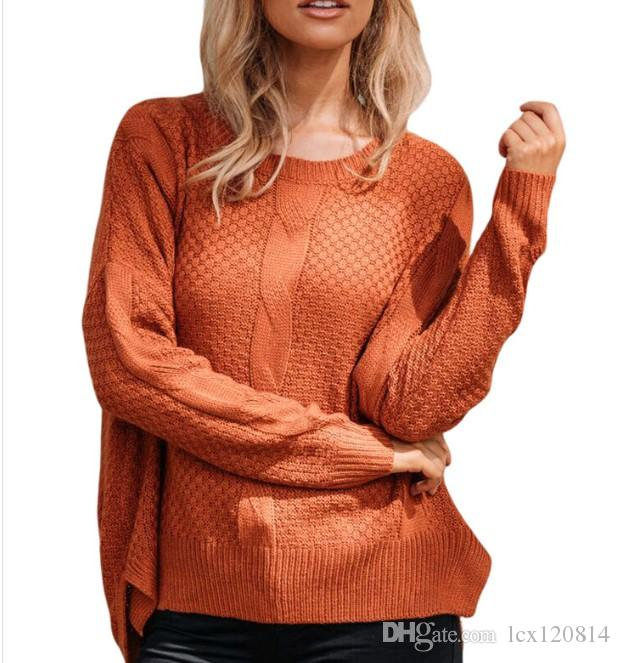 307cd7642d 2019 Autumn And Winter European And American Large Size Women S Garnet  Round Neck Cover Head Loose Bottom Knitted Sweater From Lcx120814