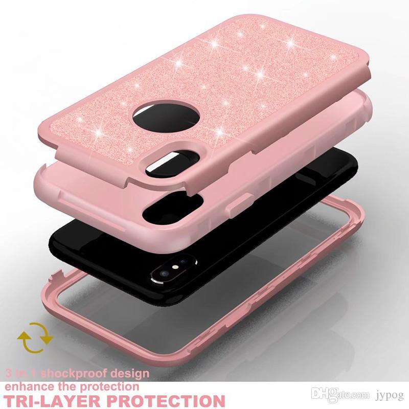 Para iPhone XS caso 3in1 Defender caso Heavy Duty a prueba de golpes contraportada Flash Powder Volver brillo caja del teléfono para iPhone XS MAX