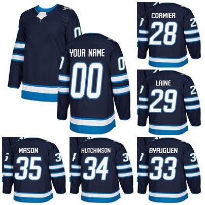2fa2b1ebc 2018 Mens Custom Winnipeg Jets 28 Patrice Cormier 29 Patrik Laine 33 ...