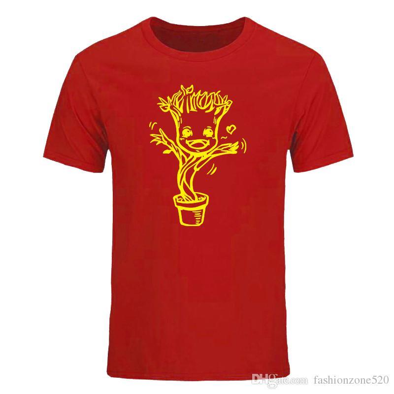 Guardians of galaxy Soy GROOT Camiseta Diseño de dibujos animados Camiseta Fresca Novedad Camiseta divertida Hombres de estilo Impreso Moda Tops Camisetas DIY-0879D