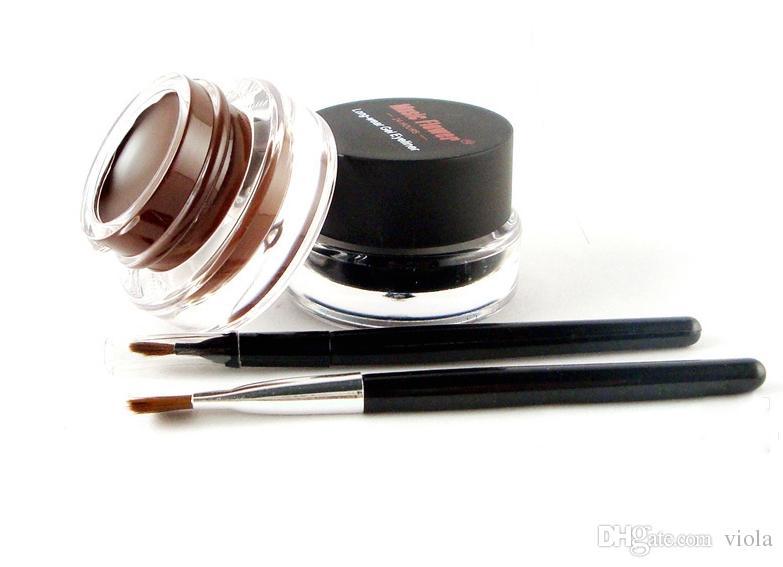 Music Flower Black + Brown Two-color Gel Eyeliner Smudge- Proof & Water Proof Eye Liner Eye Liner Eyeliner Gel Makeup Cosmetic + Brush