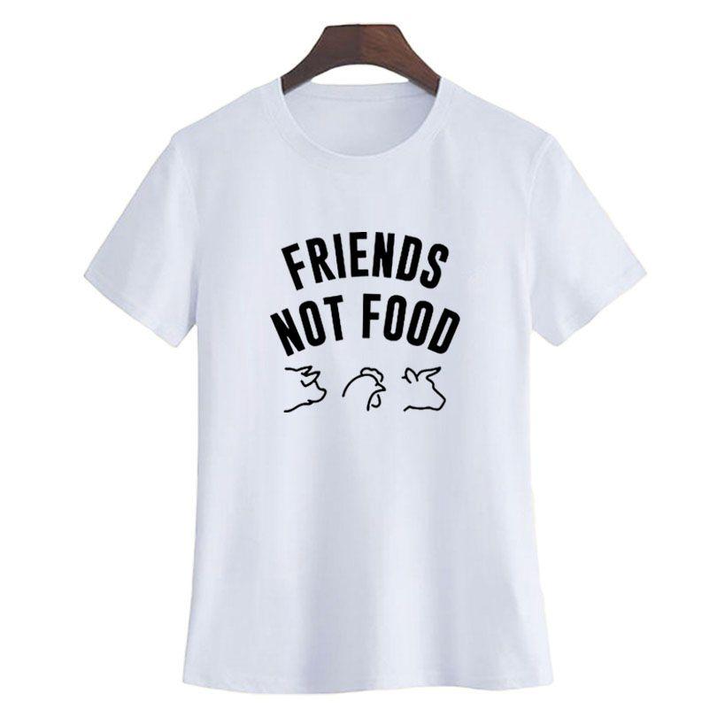f29ce7d2746 Women S Tee Friends Not Food Funny Vegan Saying Tumblr T Shirt Women  Fashion Letters Tshirt Black White Graphic Tee Shirt Femme Size S Xxl Shirt  T Shirt Tee ...