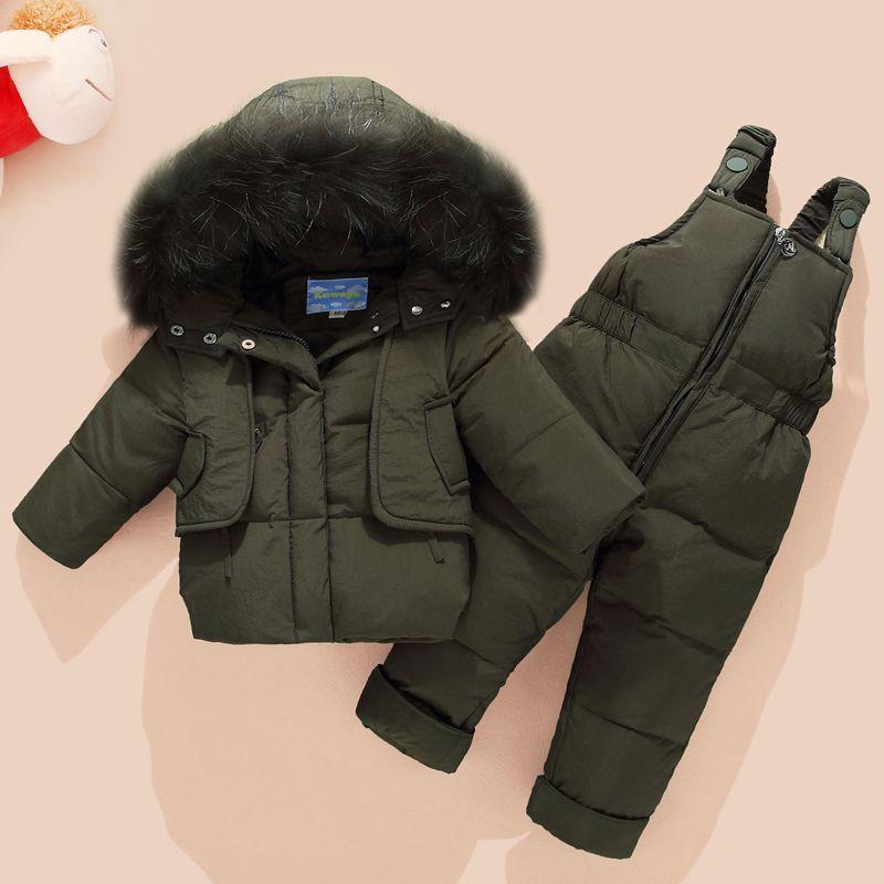 Pants Set Clothing Sets 2018winter Children Down Jacket Snowsuit Boys Ski Suit Clothing Set Children Girls Warm Hooded Down Parka Coat