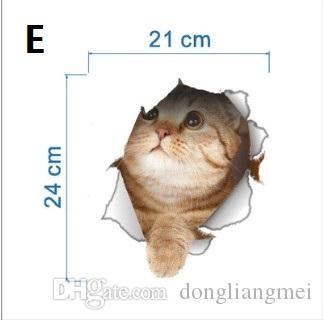 Cat Dog Яркие 3D Look Hole Наклейки На Стены Ванная Комната Туалет Украшения Дети Подарок Кухня Симпатичные Home Decor Наклейка Росписи Животных Плакат Стены wn399