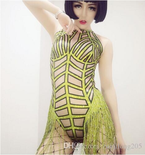 794d2b9f51c4 2019 Neon Rhinestones Fringes Bodysuit Singer Dancer Sexy Tassel Leotard  Costume Women S Stretch Outfit Dance Wear From Zunjilong205