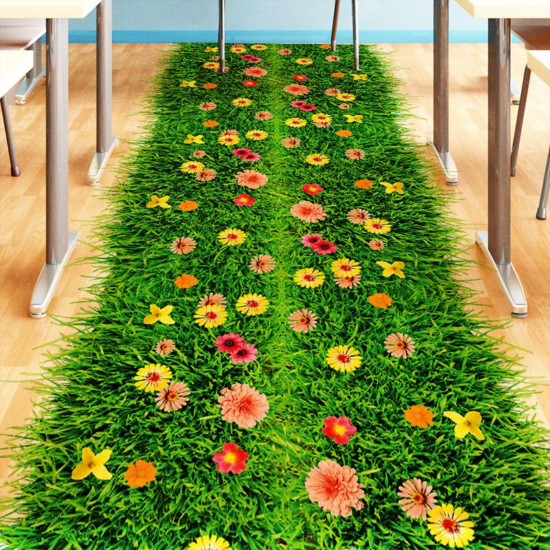 2017 Fashion DIY Nature Colorful Flowers Grass Wall Sticker Home Decor 3d Wall Decals floral TV Bedroom Garden Home decoration