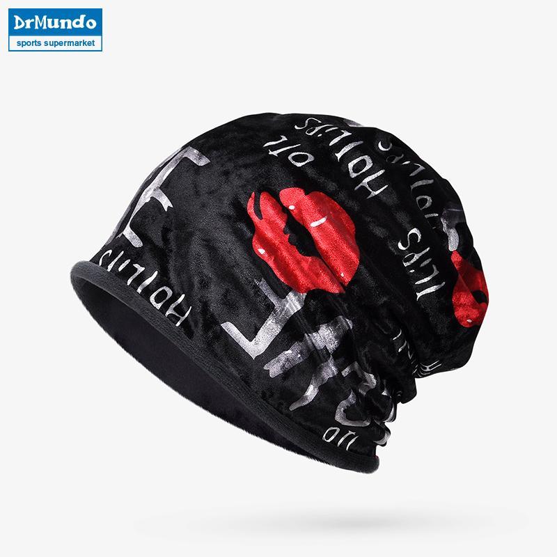 c7ea545fe04 Winter Sport Ski Face Mask Fleece Beanie Hats Dual-use Letter Velvet ...