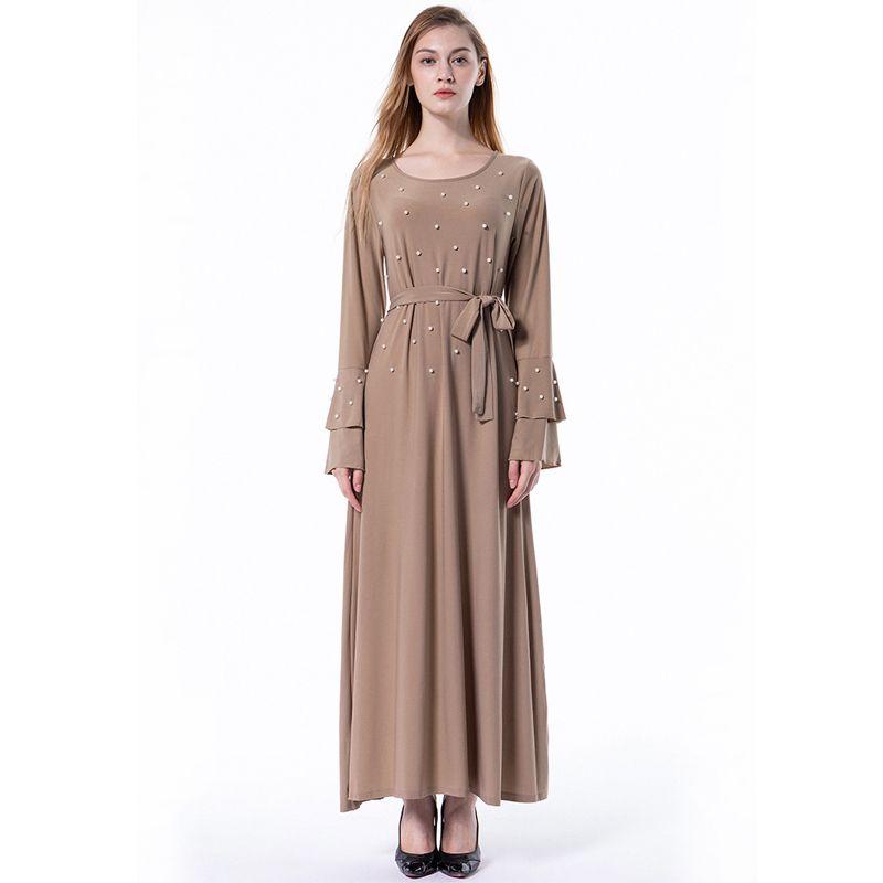 Acheter Grande Taille Robe Robes 2018 Longues Émirats Arabes Unis Abaya  Dubaï Kaftan Islamique Bandage Femmes Perles Maxi Robe Hijab Musulmane  Arabe ... 6d2fb13efd0