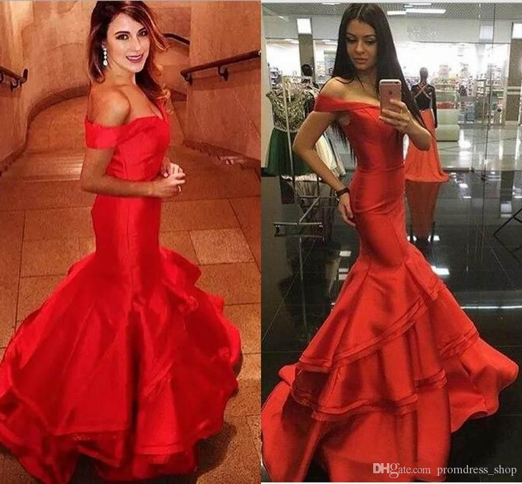 5fc1f1e59322 2019 Charming Red Off Shoulder Mermaid Prom Dresses Simple Design Sexy Back  Special Occasion Dresses Formal Evening Dresses Off The Shoulder Prom  Dresses ...