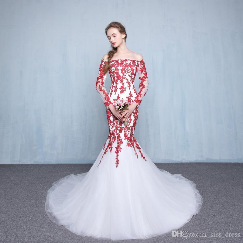 Red And White Wedding Dresses: White And Red Mermaid Wedding Dresses 2019 New Custom