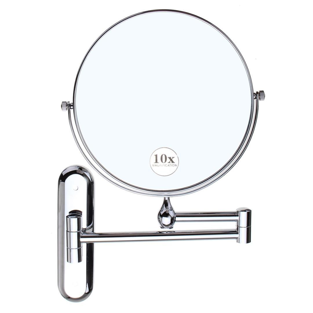Cosmetic Double Sided 10x Magnifying Mirrors Chrome Round 8 Wall