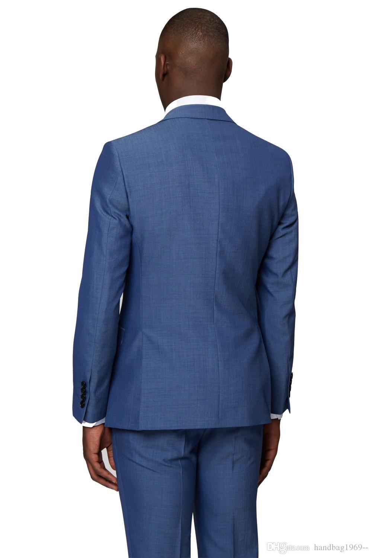 Neue Ankünfte Zwei Button Blauer Bräutigam Smoking Groomsmen Peak Revers Bester Mann Blazer Mens Hochzeitsanzüge Jacke + Pants + Weste + Krawatte H: 819