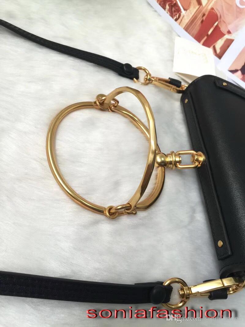 Heißer Verkauf Mode-Stil von 2018 Frauen Tasche echten Import Leder Designer Dame Tasche mit Metallring Griff Frauen Kreuzkörper Tasche sollte