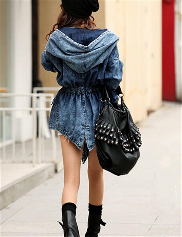 New Girl's Denim Jackets Oversized Hoodie Hooded Outerwear Jean Wind Jacket Fashion Design Denim Women Coat