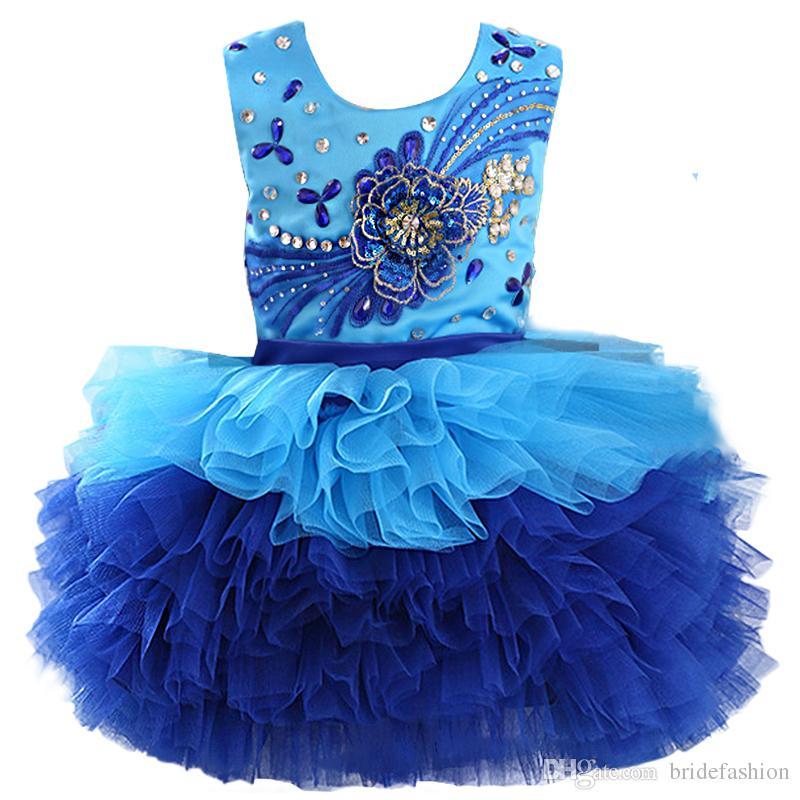 الرسن سكوب الملكي الأزرق حبة الأورجانزا الكرة ثوب كب كيك طفل ليتل بنات فساتين مهرجان زهرة فتاة لحفلات الزفاف الواجهة