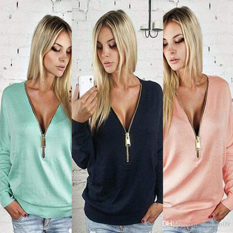 Women T-shirt Summer Style V Neck Casual Plus Size S- 5XL Zipper Loose Long Sleeves European American Fashion Tops