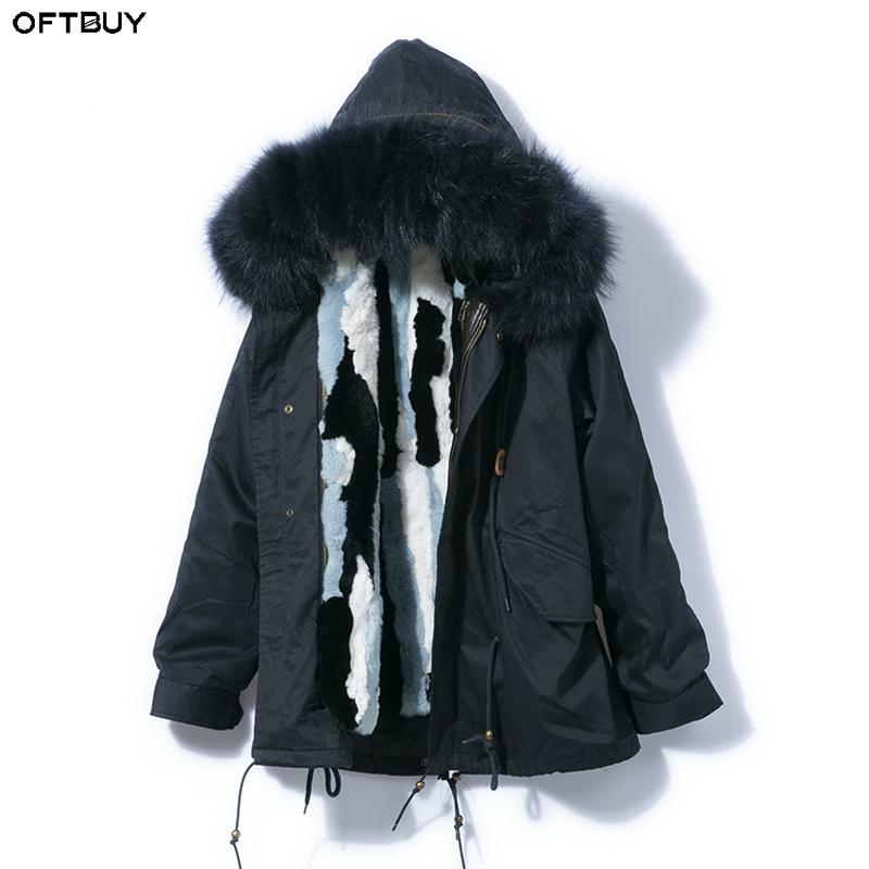 99d240a564cf OFTBUY 2018 Parka Winter Jacket Women Real Fur Coat Black Navy Outerwear  Natural Raccoon Fur Collar Rex Rabbit Fur Liner Brand Canada 2019 From  Baochenlu