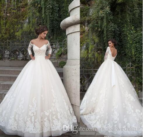 2018 Plus Size Lace Wedding Dresses Off Shoulder Long Sleeves ...