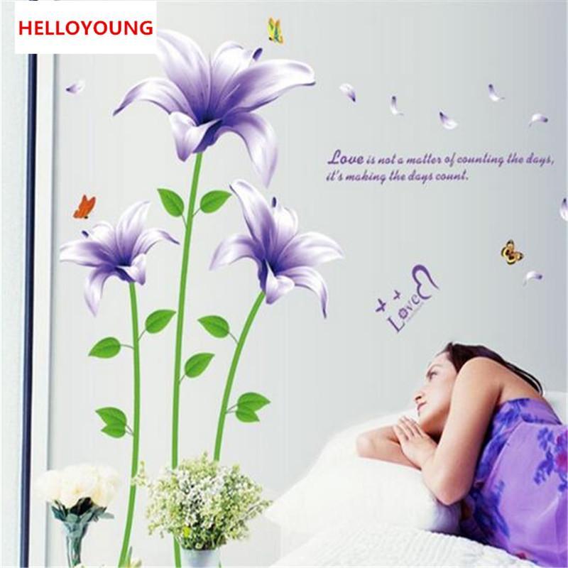 Blumen Im Schlafzimmer | Grosshandel Neues Angebot Pvc Lila Lilien Blumen Schlafzimmer