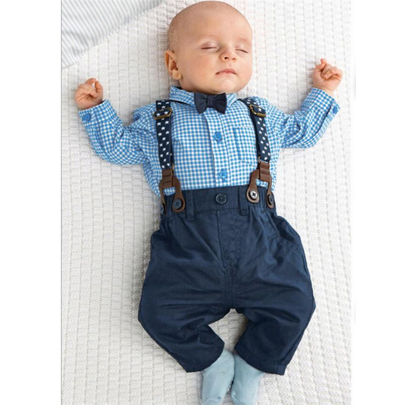 a10628f06 2pcs Newborn Baby Boy Clothes Bow Tie Plaid Shirt+Suspender Pants Trousers  Overalls Outfits Kids Clothing Set 0-24M vestidos