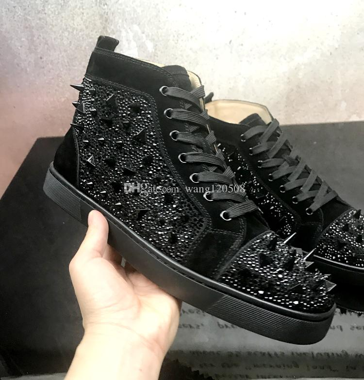 f88c392df93 Wholesale Mens Womens Black Rivets Studded Leather High Top Spikes Red  Bottom Sneakers,Brand Flat Boots Casual Shoes 36-46 Drop Shipping