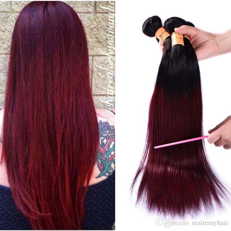 Brazilian Ombre Straight Human Hair 4 Bundles Dark Red 1b 99j