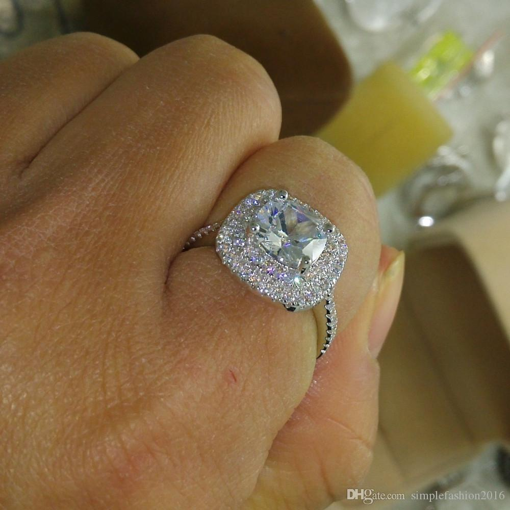 2016 fashion ring new style Cushion cut 4ct 5A Zircon stone 925 sterling silver Engagement Wedding band Ring for women Sz 5-10
