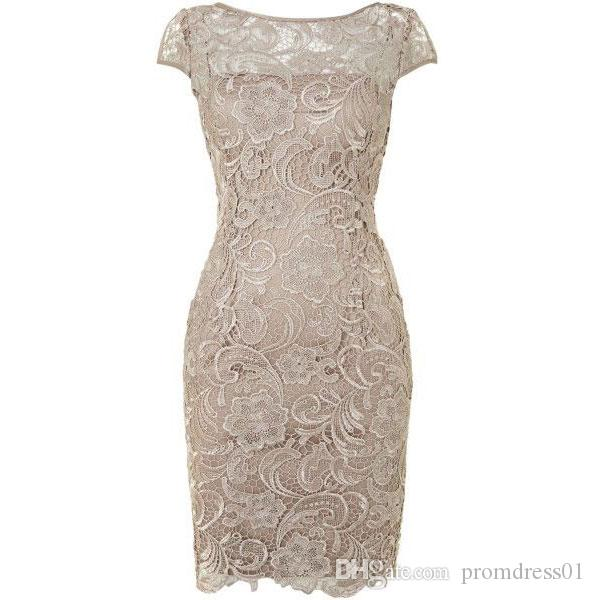 Hot Selling Scoop Cap Sleeves Lace Light Champagne Mother of the Bride Dresses Mother of the Groom Dresses In Stock