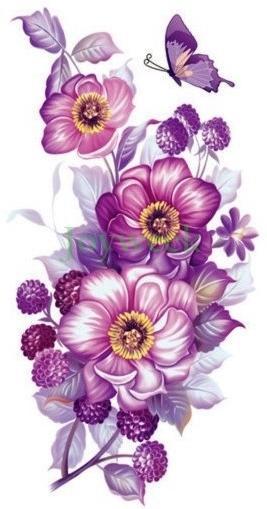 Acheter 17 Dessins Autocollant De Tatouage Temporaire Etanche Fleurs