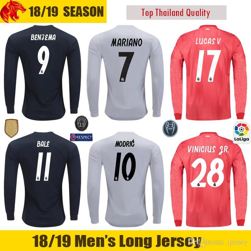 factory price 1f8aa 757ea 18 19 Real Madrid Long Sleeve Jersey MODRIC BALE 2018 2019 ASENSIO MARIANO  Long Sleeve Soccer Jersey LUCAS V. VINICIUS JR. Long Jersey