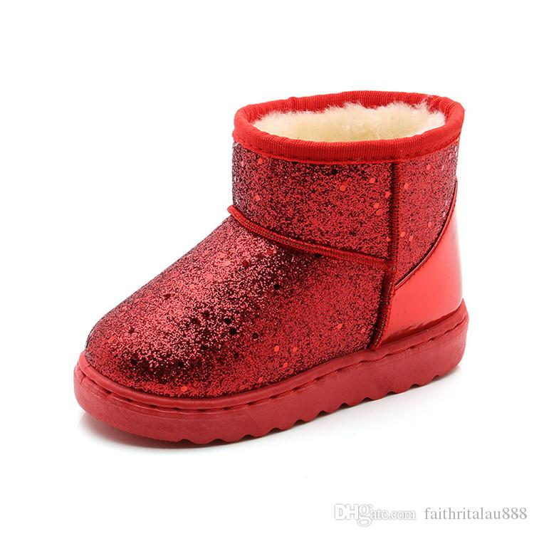 Compre 2018 Botas De Invierno Para Niñas Gruesas Lentejuelas Cálidas Botas  Para La Nieve Zapatos PU De Goma Botines Cortos Niños Niña Zapatos  Acolchados ... deecb34953e