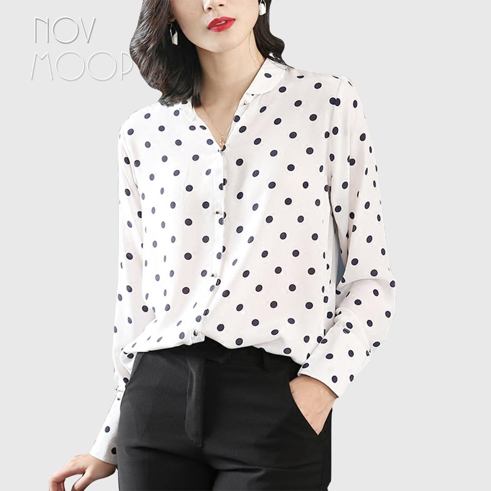 30cf5d81a63f8 2019 Office Style Ladies Pure Natural Silk Tops And Blouses Black Dot Print  White Pure Silk Shirt Roupa Camisa Blusa Feminina LT1974 From Edmund02