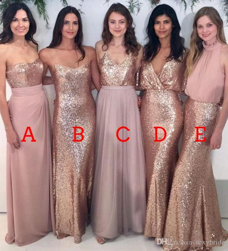 e22a5cc1887 Sparkly 2018 Rose Gold Bridesmaid Dresses Sequins Sheath Mixed Styles Dusty  Chiffon Bridesmaid Dress Wedding Party Guest Gowns Plus Size Mint Green ...
