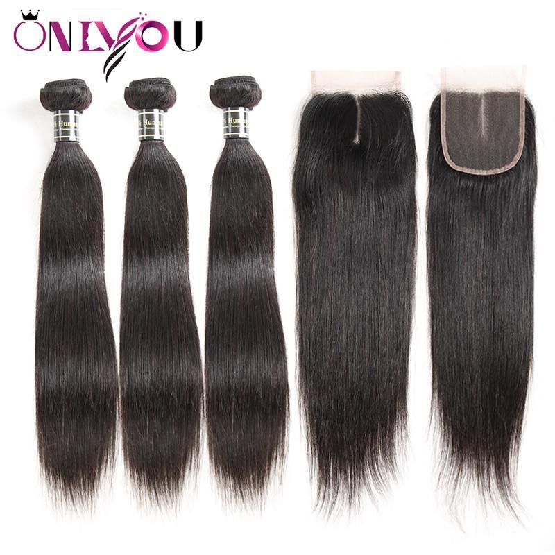 Onlyou Hair® 9a حزم مستقيم عذراء الشعر البرازيلي مع إغلاق 100 ٪ ريمي شعرة الإنسان نسج 3/4 حزم مع 13 * 4 الرباط أمامي إغلاق