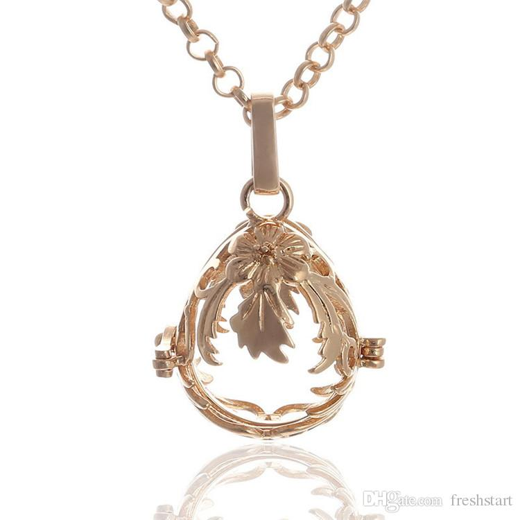 New Arrival Sound pearl cage lockets Pendant Necklaces Opening floating Sound bead Lockets necklace For pregnant woman Jewelry