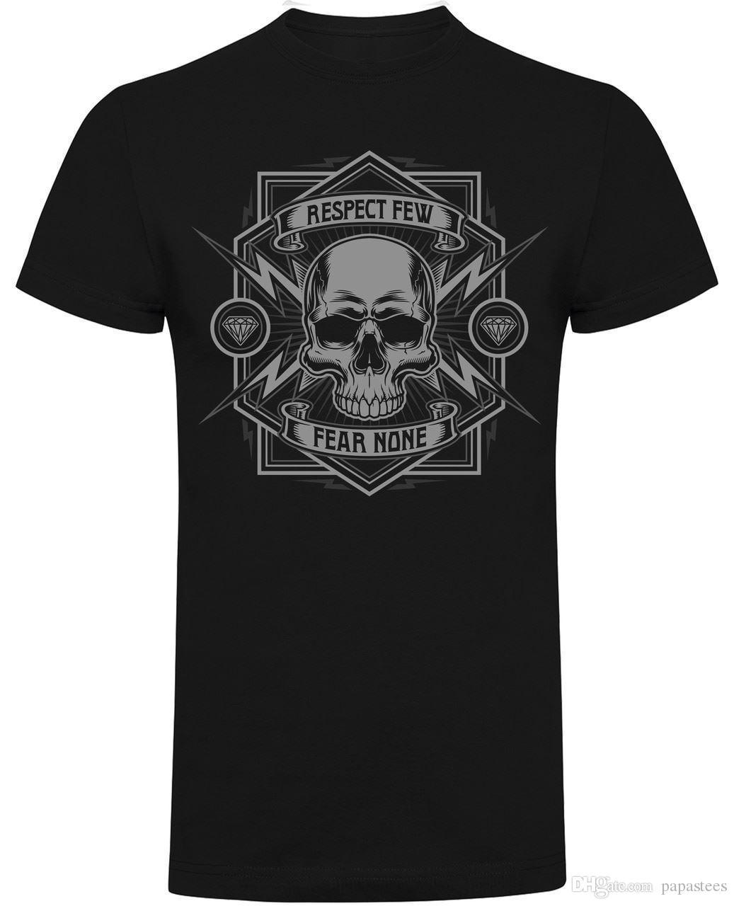 763bd967 Respect Few, Fear None Skull Motorcycle Biker T Shirt Black Shirt Tee Shirt  Shirts From Papastees, $10.64| DHgate.Com