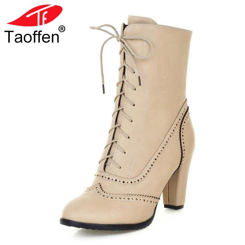 061c10f4 Compre TAOFFEN De Gran Tamaño 32 43 Plataforma De Estilo Británico Zapatos  De Mujer Brogue Wpomen Moda De Tacón Alto Con Cordones Botas De Media  Cadera ...