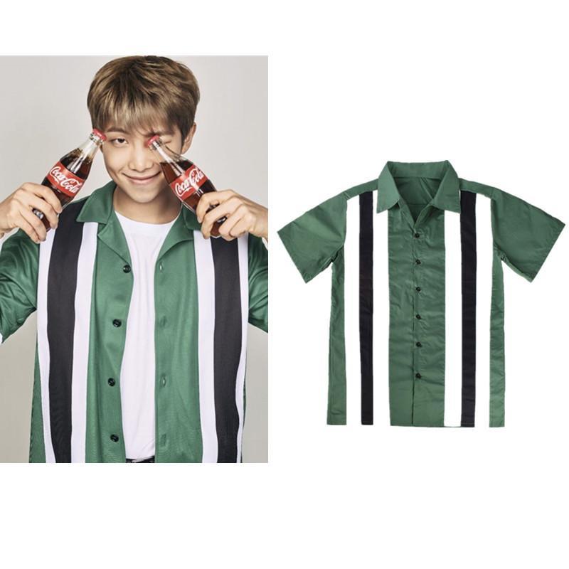 5a9d083d281 Kpop BTS Bangtan Boys Jinnan Jun Striped Short Sleeved T Shirt Dark Green Shirt  Cardigan Fashion Personality Men Women Summer Shirt Online Cartoon T Shirts  ...