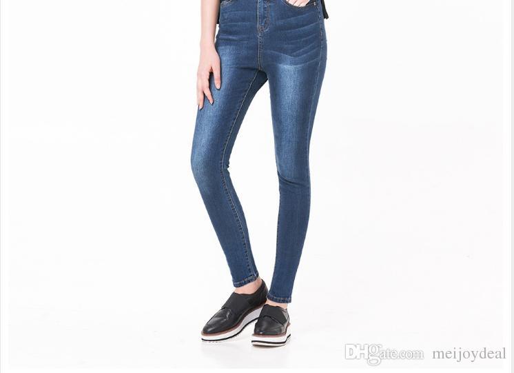 848f2b9275f Compre Pantalones Vaqueros Altos Elásticos De Mujer Para Pantalones De  Lápiz De Mezclilla Vaqueros Lavados Femeninos A  9.04 Del Meijoydeal