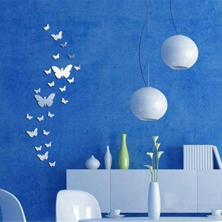 3D Mirror Butterfly Wall Stickers Decal Wall Art Removable Homer Room Party Wedding Silver DIY Newest