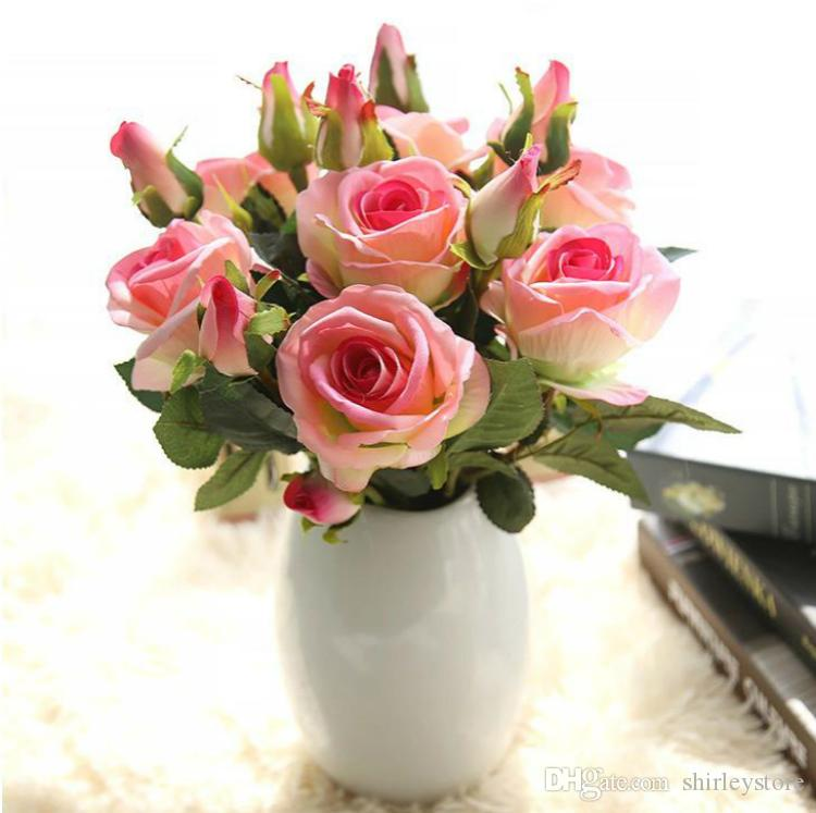 10pcs/lot Factory Direct Sale Velvet Acacia Rose Flowers W/Leaves and Buds For Artificial Flower Arrangement Free Shipping