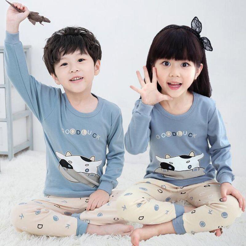 cute kids print thermal underwear christmas teenagers funny pajamas for girls cotton animal pyjama sets boys children sleepwear cotton pajamas for girls